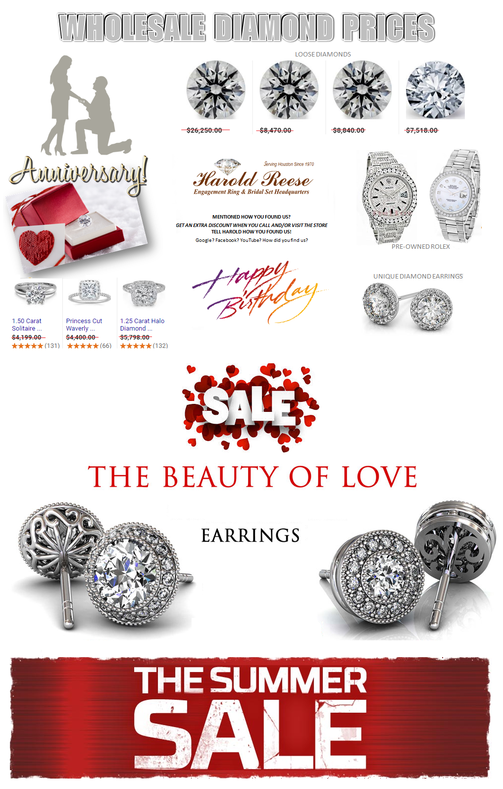 Wholesale Diamond Prices Houston Jewelry Store - MyDiamondMan The Summer Sale